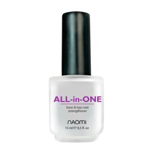 Универсальное покрытие Naomi All-in-One Уход за ногтями 3 в 1 15 мл