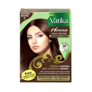 Краска для волос на основе хны Dabur Vatika Natural Brown 4 натуральный коричневый 6 х 10 г