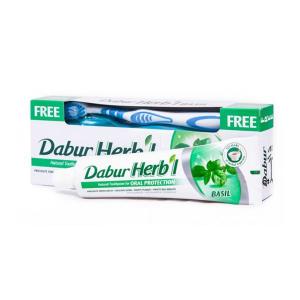 Зубная паста со щеткой Dabur Herb'L Базилик 150 г