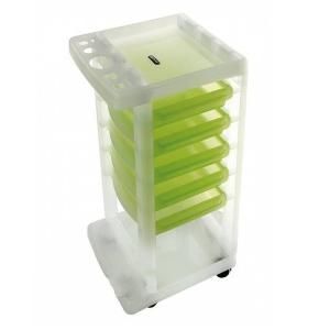 Помощник-тележка Ceriotti Oscar Ice прозрачная с зелеными ящиками