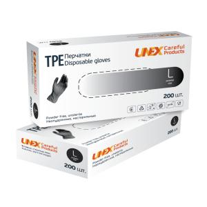 Перчатки одноразовые ТРЕ Unex неопудренные черные L 200 шт