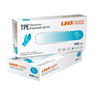 Перчатки одноразовые ТРЕ Unex неопудренные голубые XL 200 шт